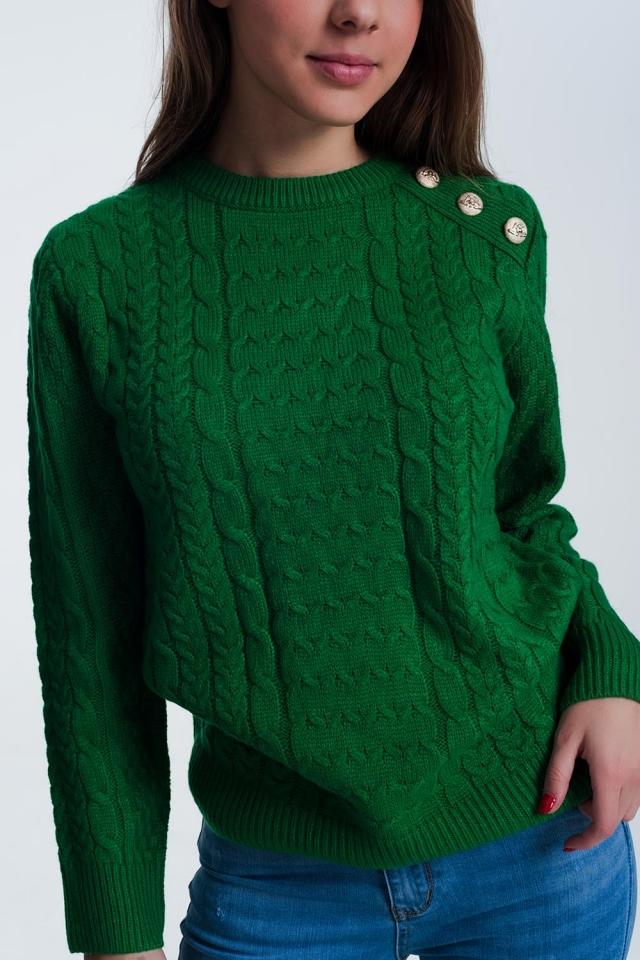 Pull ras de cou en tissu texturé de première qualité Vert