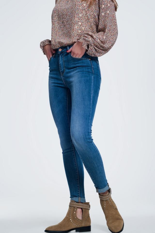 Jean skinny taille haute Bleu moyen