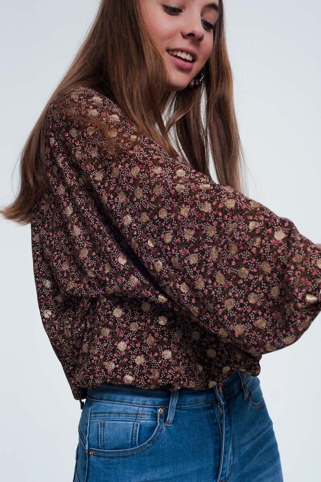 Blouse à manches froncées et motif floral marron