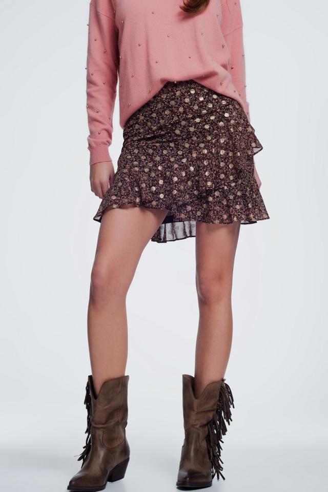 Mini-jupe à fleurs avec volants superposés en marron