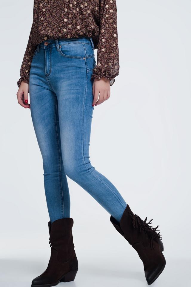 Jean skinny taille haute Joli bleu délavé moyen