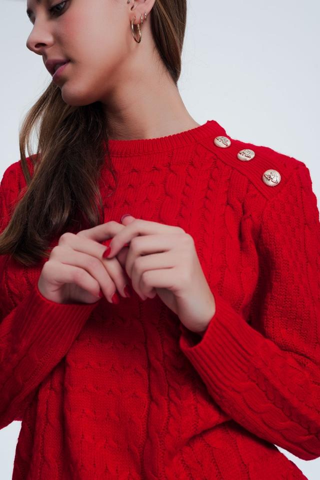 Pull ras de cou en tissu texturé de première qualité rouge