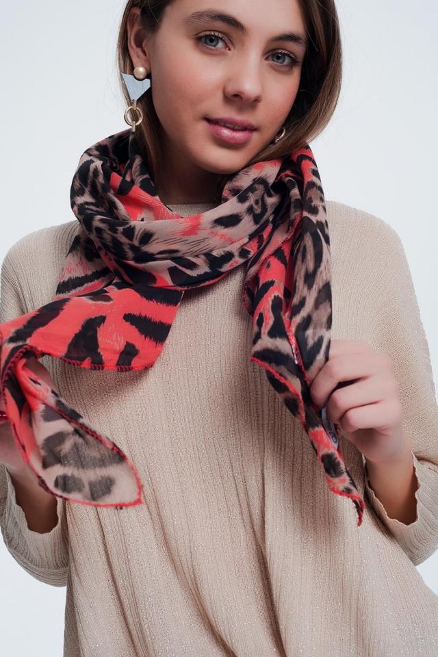 Écharpe longue imprimé léopard rouge