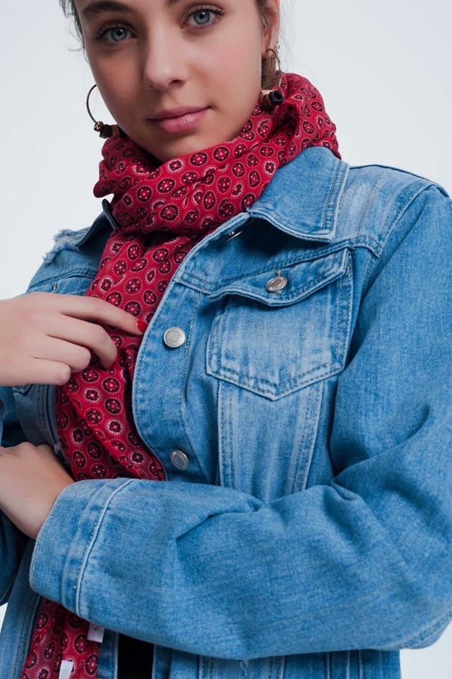 Foulard cou et tête léger avec monogramme rouge