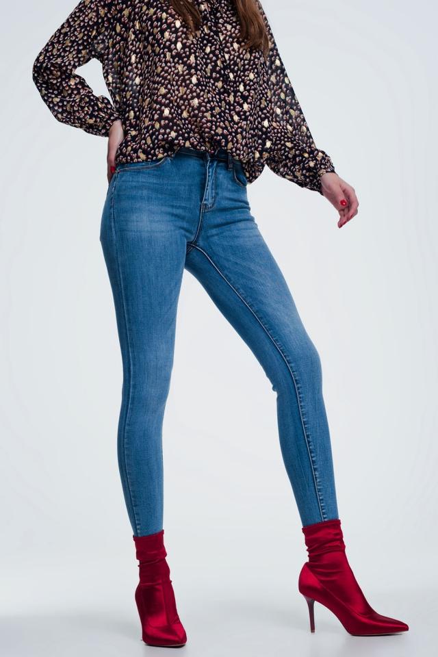 Jean skinny taille haute Bleu moyen délavé pretty