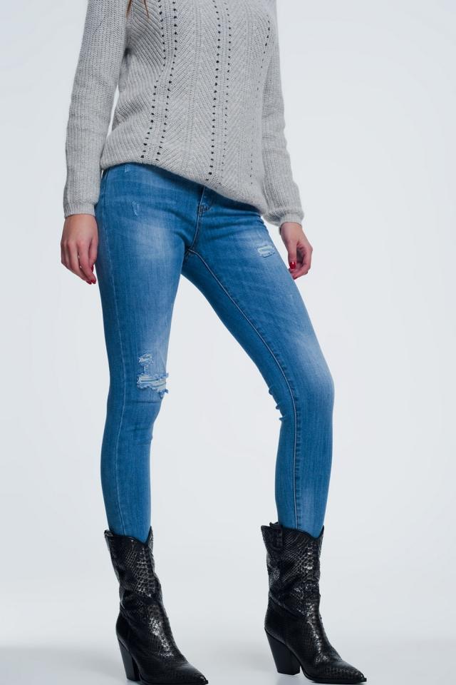 Jean skinny effet vieilli Bleu moyen
