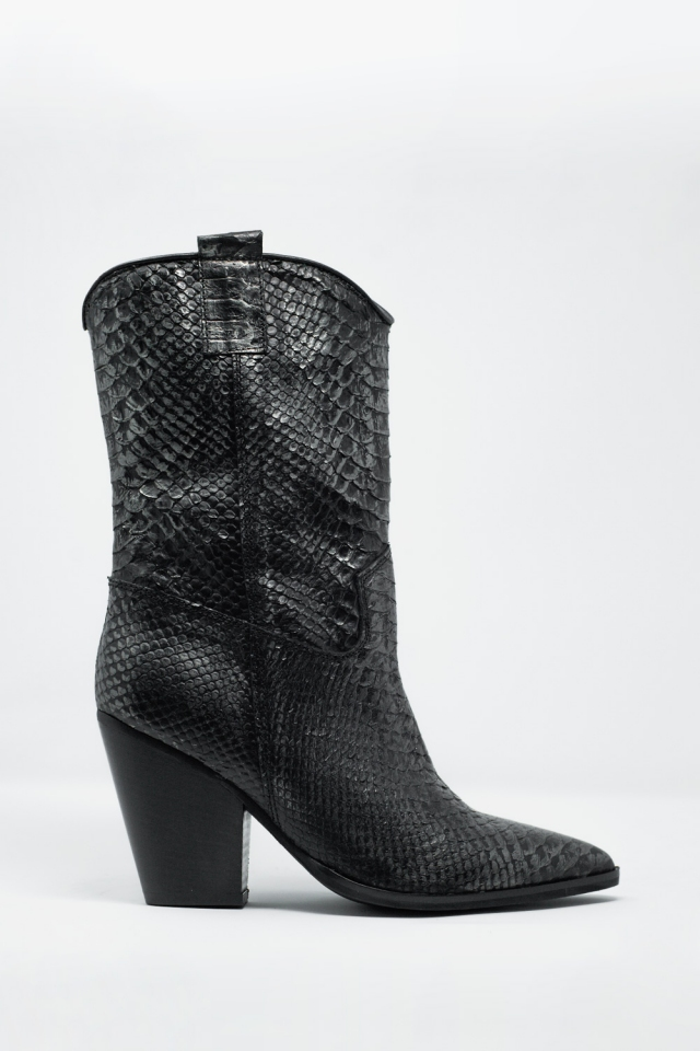 Bottines en cuir - Noir croco