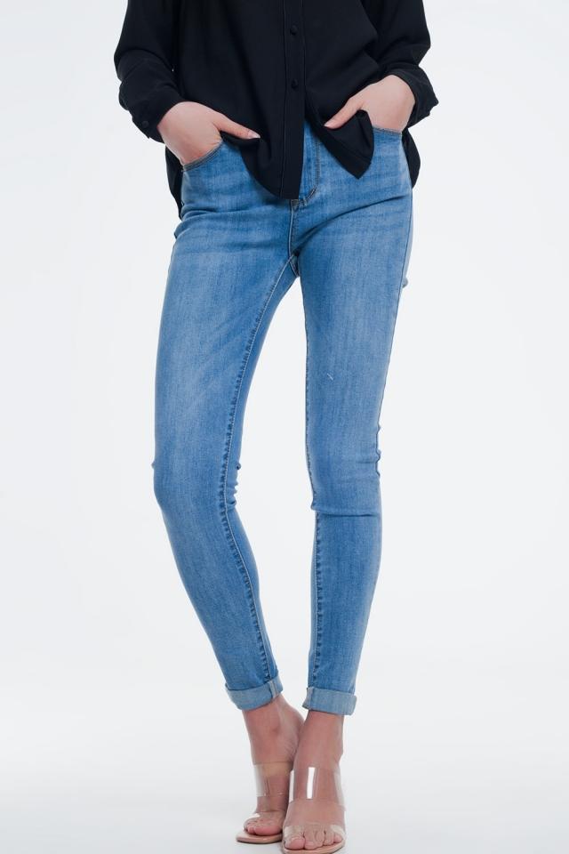 Jean skinny taille haute Bleu clair délavé