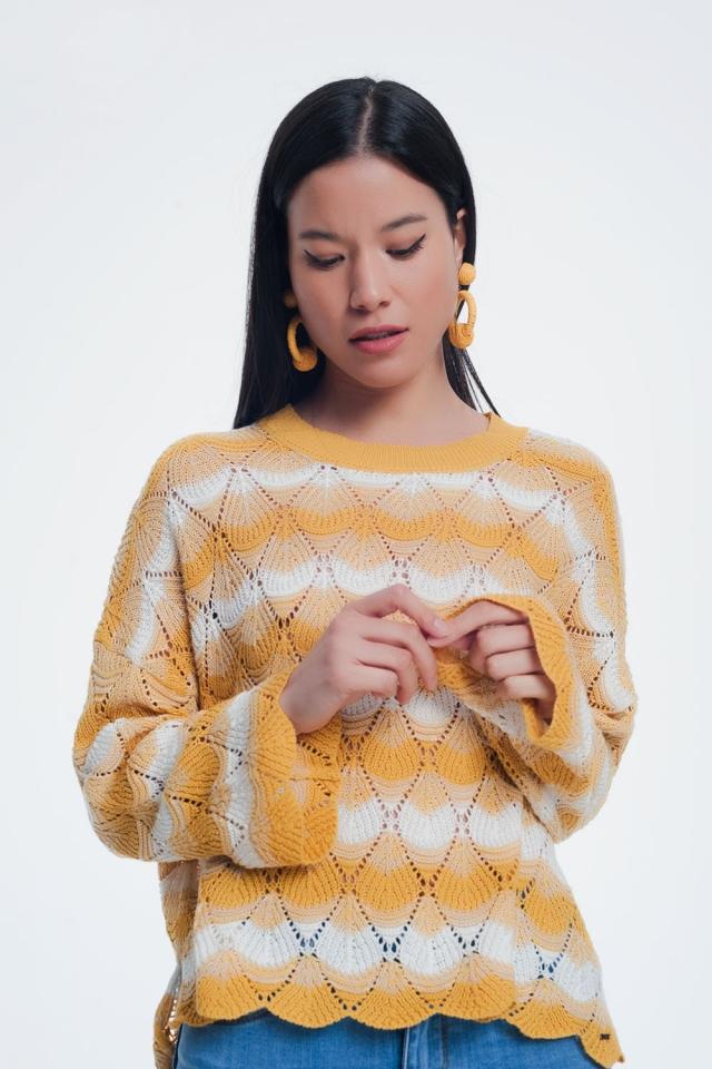 Pull rayé tricoté main jaunes