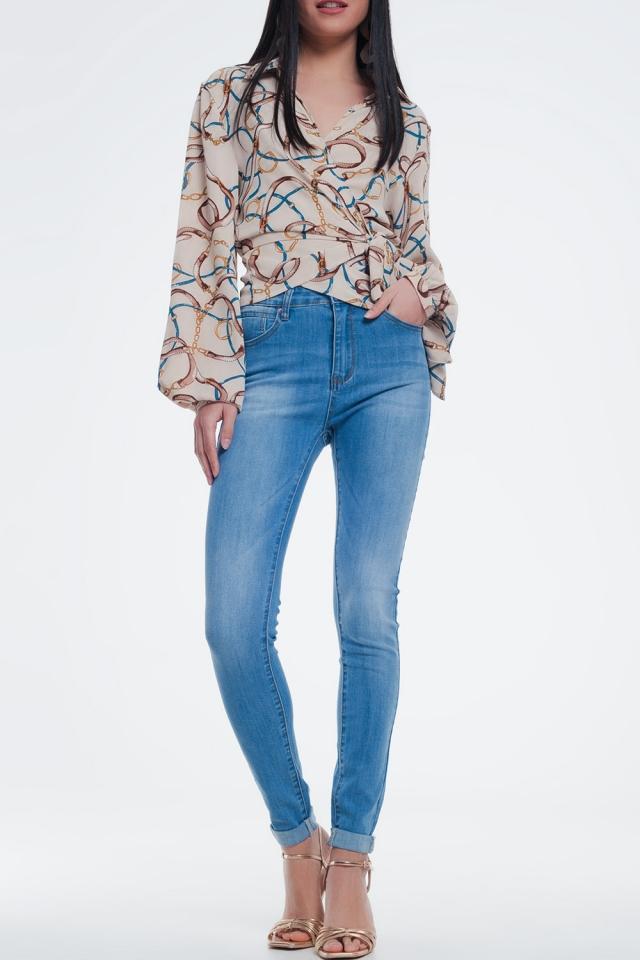 Jean skinny Bleu délavé moyen