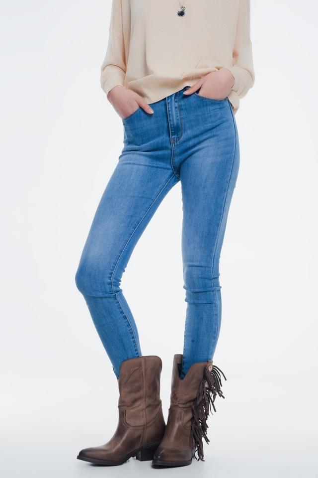 Jean skinny Bleu clair délavé