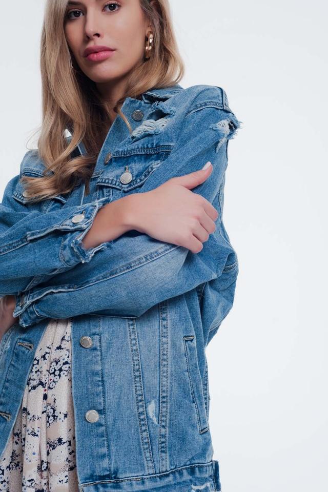 Veste en jean girlfriend Bleu délavé