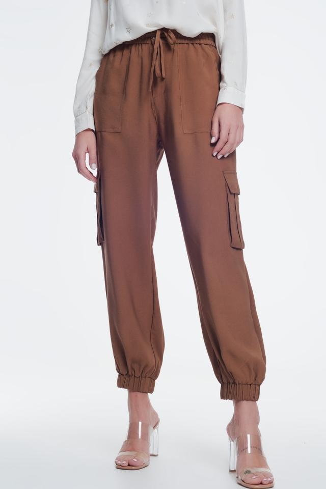 Pantalon bouffant avec poches marron