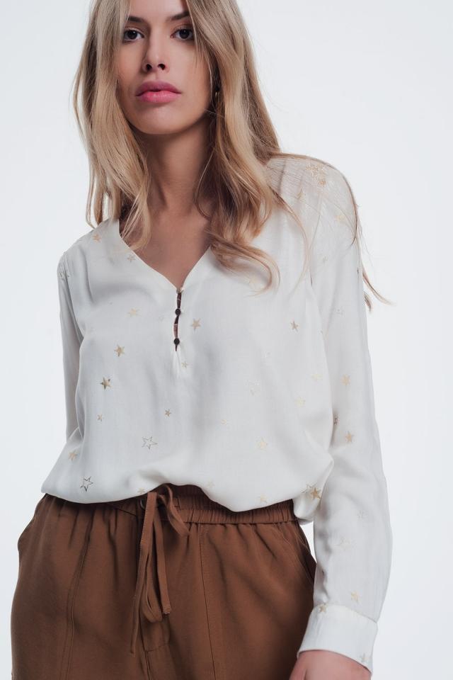 Chemise à manches longues avec imprimé étoiles crème