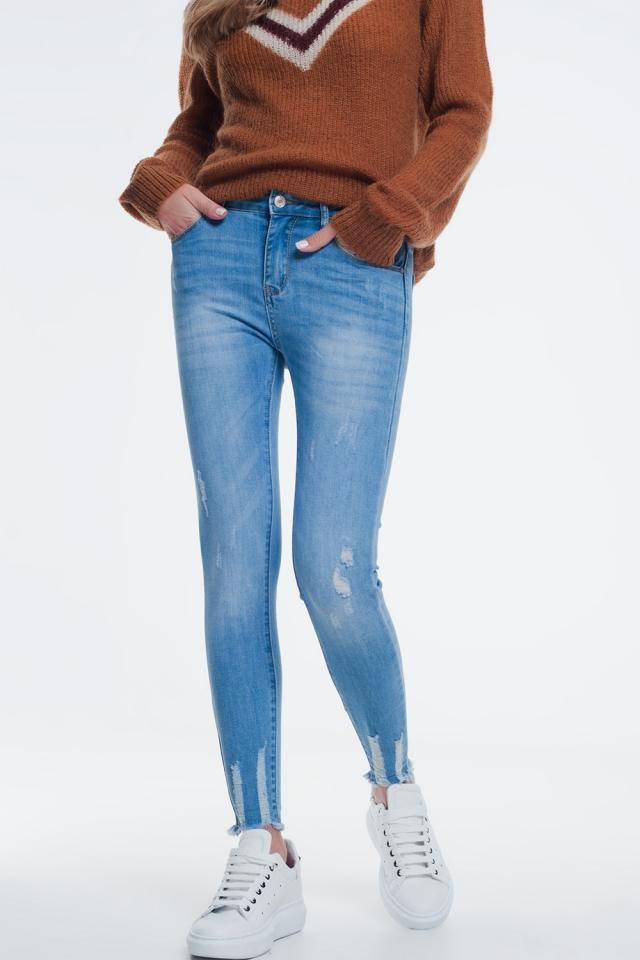 Jean skinny à abrasion Bleu délavé