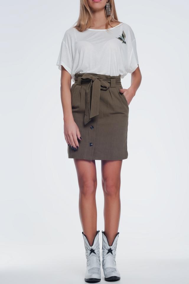 Jupe Mini longue boutonnée devant kaki