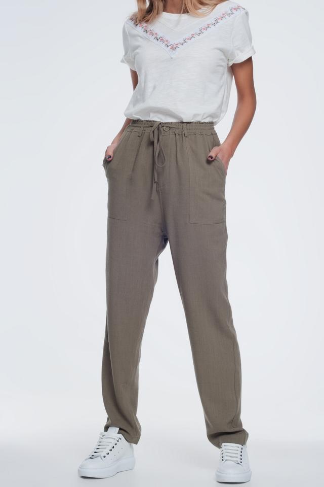 Pantalon kaki à taille élastique