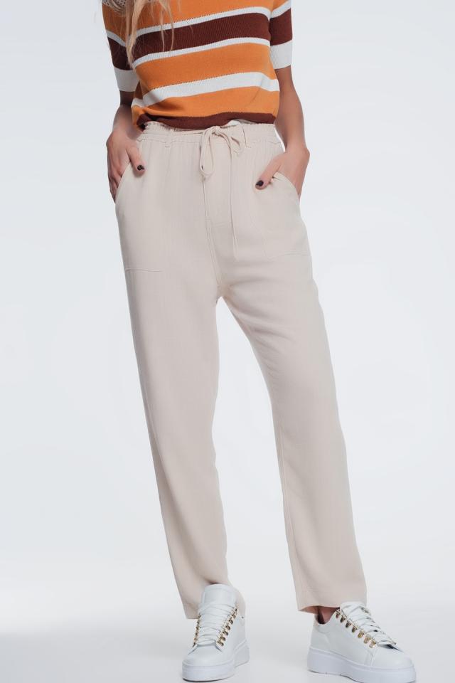 Pantalon beige à taille élastique