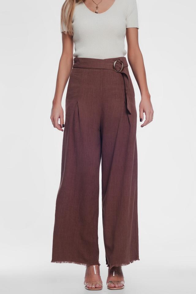 Pantalon taille haute coupe large avec ceinture