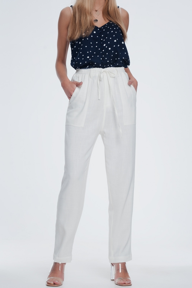 Pantalon créme à taille élastique