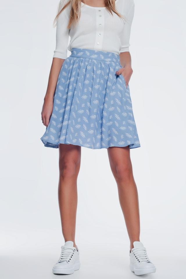 Mini-jupe à fleurs vintage en bleu