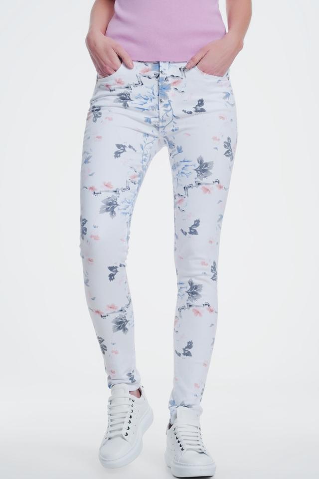 Pantalon skinny blanc à imprimé floral