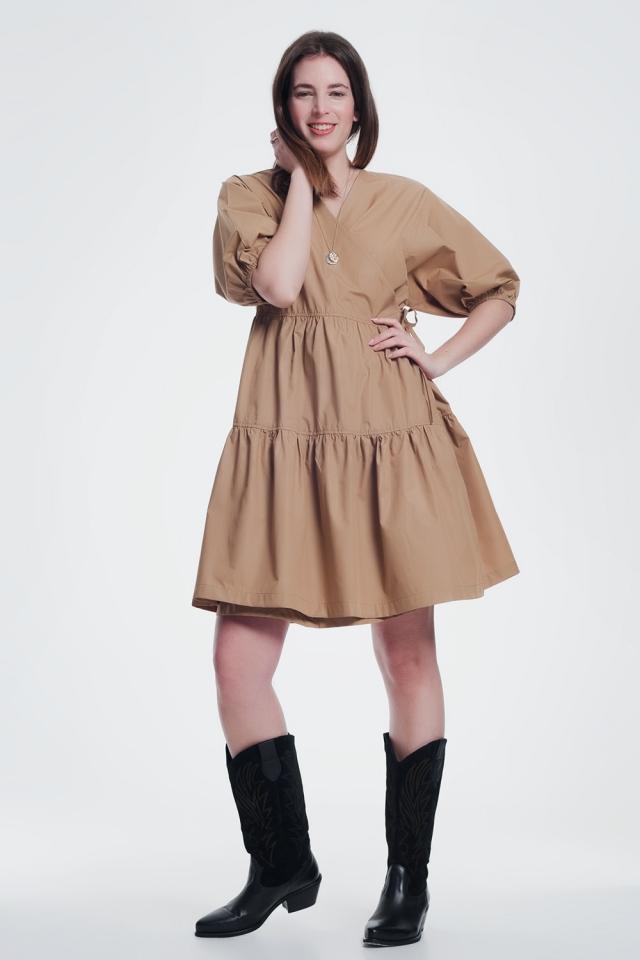 robe mi-longue à manches larges marron