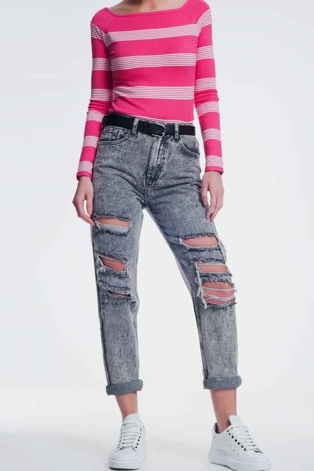 jean droit déchiré en gris