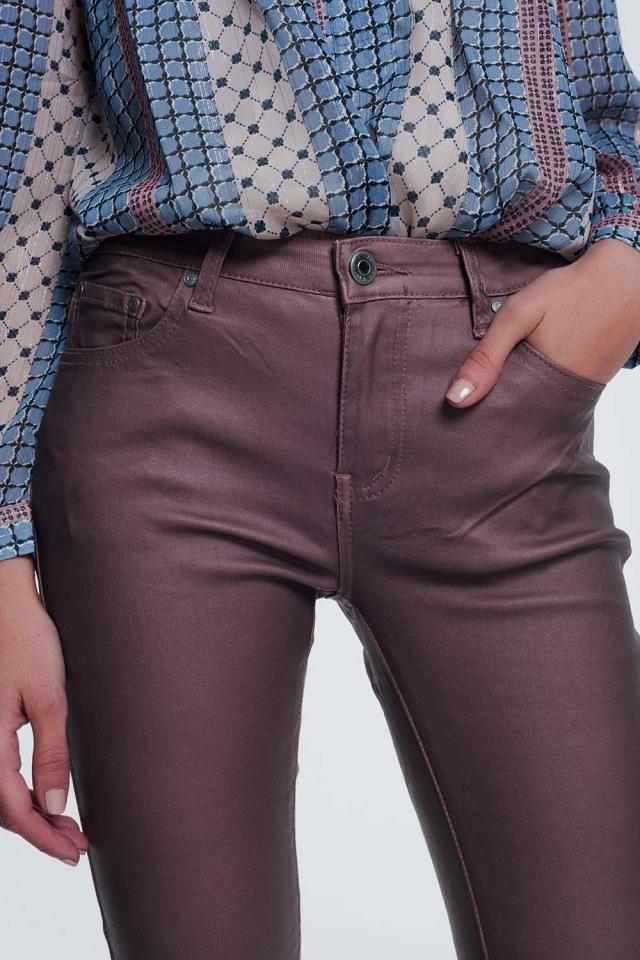Pantalon enduit rose