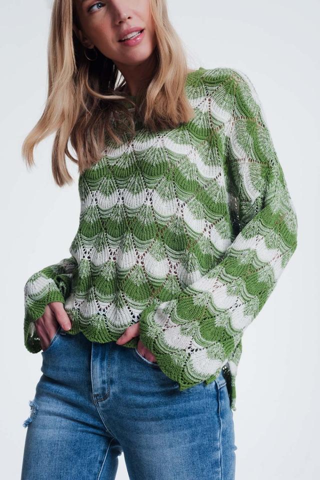 Pull rayé tricoté main vert