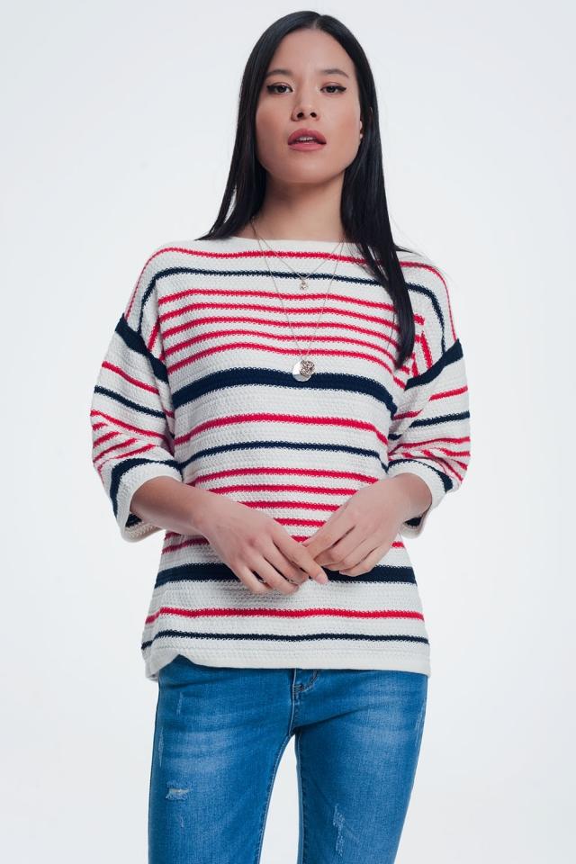 Pull rayé tricoté en couleur crème