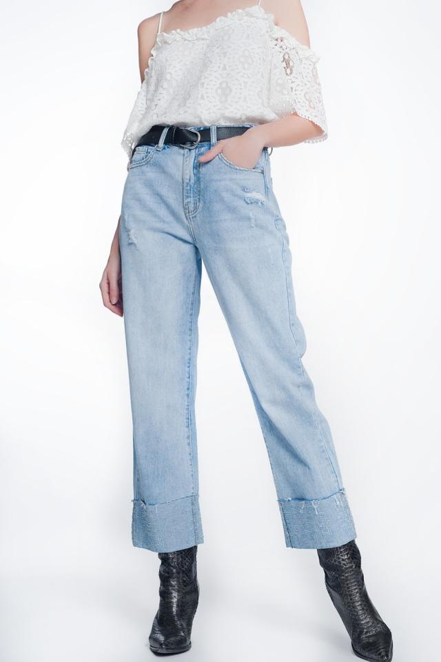 Cropped jeans avec cristaux strass détail