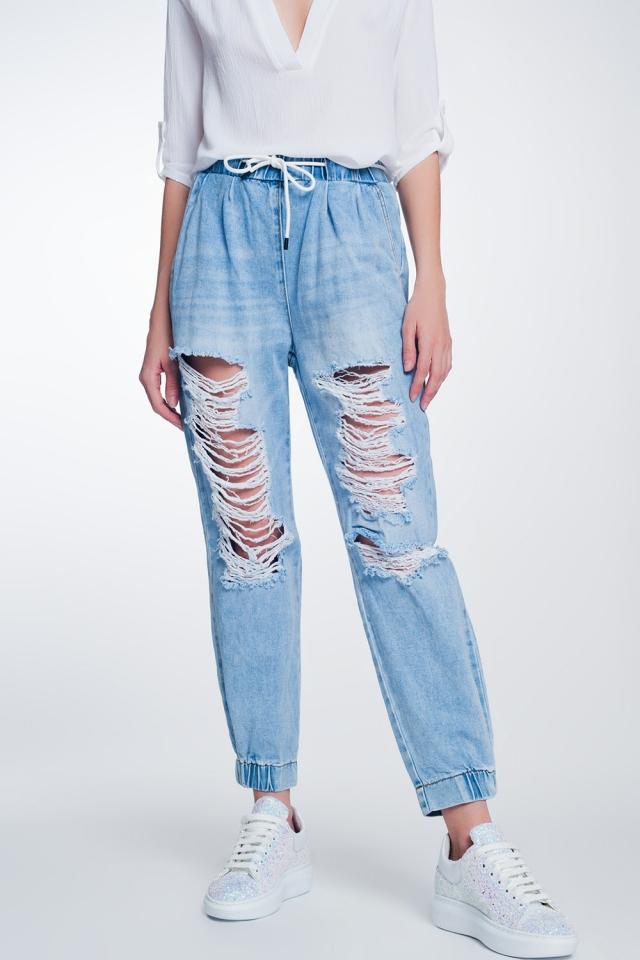 Jogger en jean déchirés bleu clair délavé