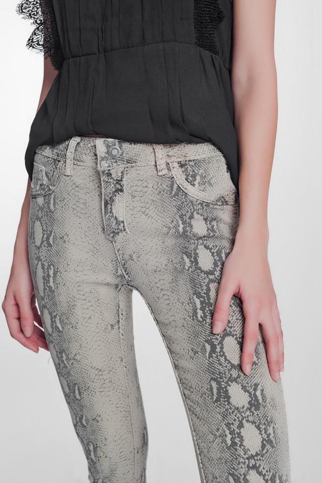 Pantalon réversible ajusté verni imprimé serpent