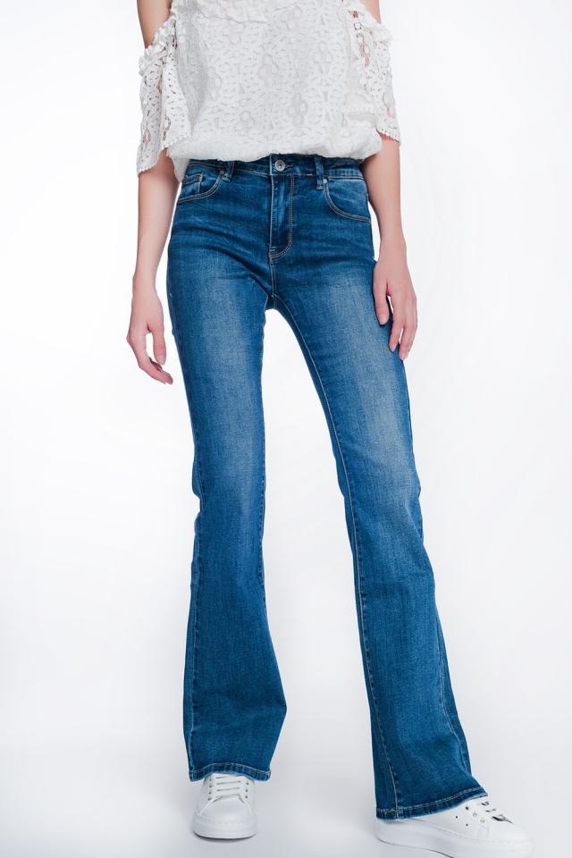 Jean skinny évasé à taille haute délavage authentique