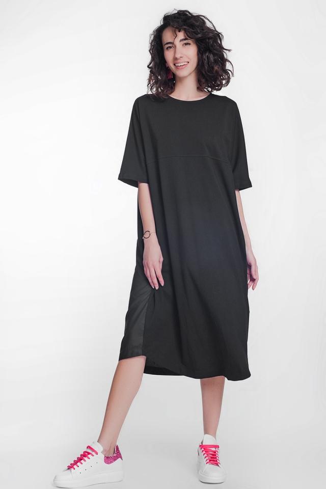 Robe babydoll mi-longue en popeline noir