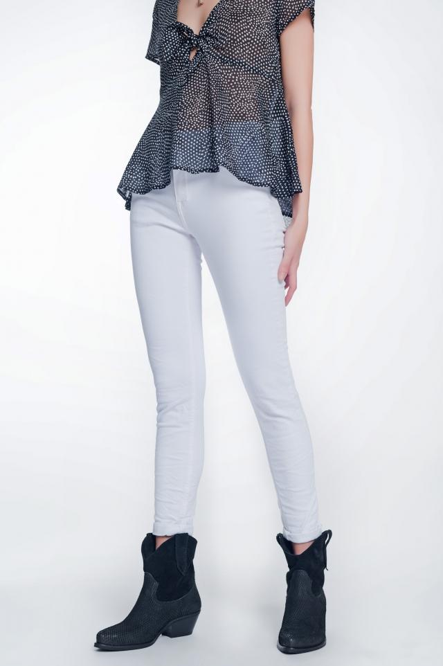 Pantalon skinny taille haute en blanc