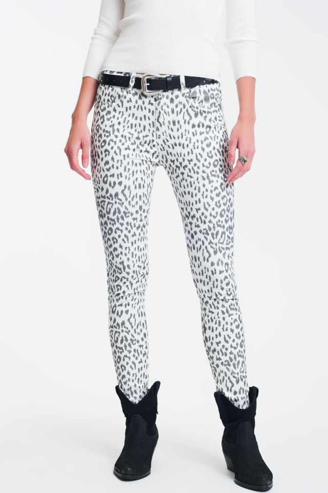 super skinny Pantalon à imprimé animal