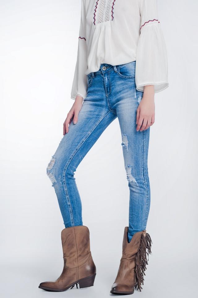 Jean super skinny à grosses déchirures bleu vintage
