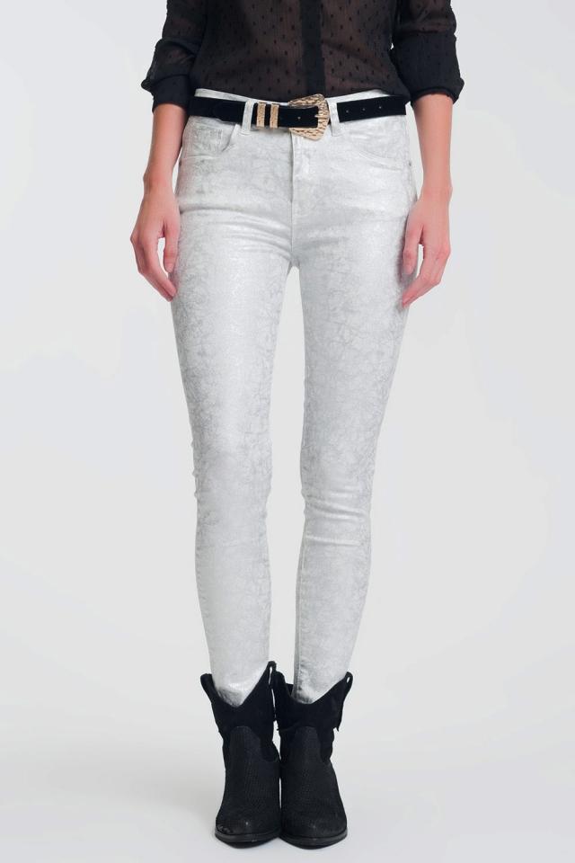Pantalon skinny super stretch imprimé argenté
