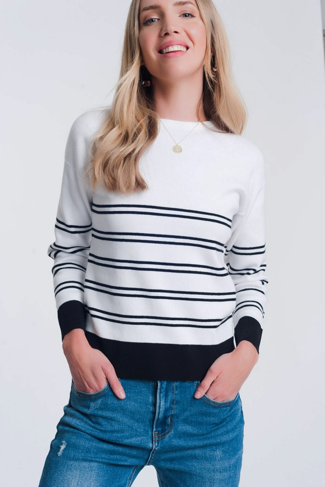 Pull en maille à rayures style marinière blanc