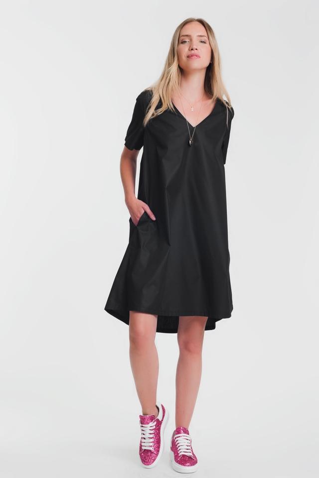 Robe tunique à poches noir