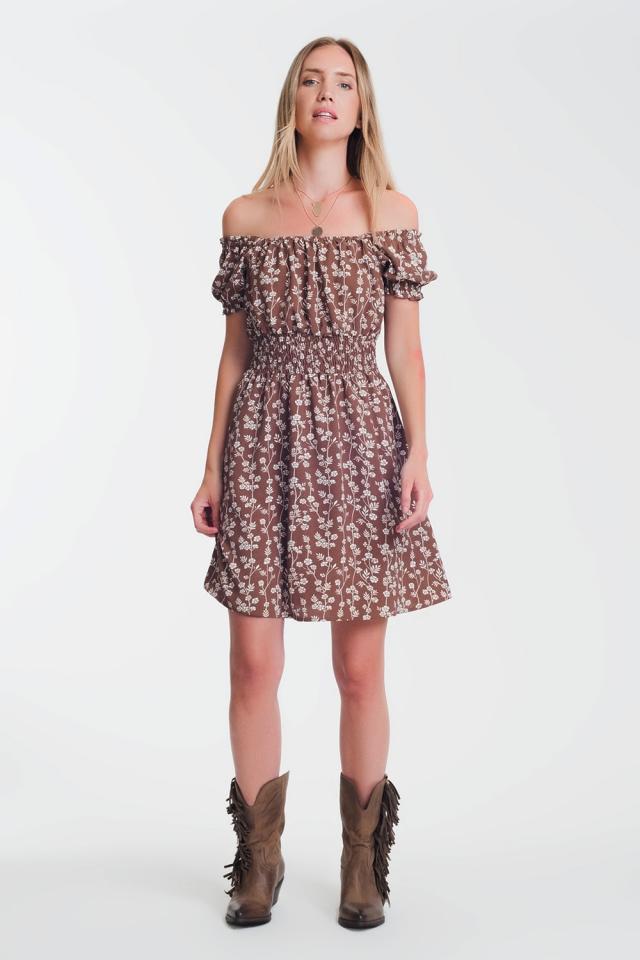 Robe d'été courte style bardot à fleurs marron