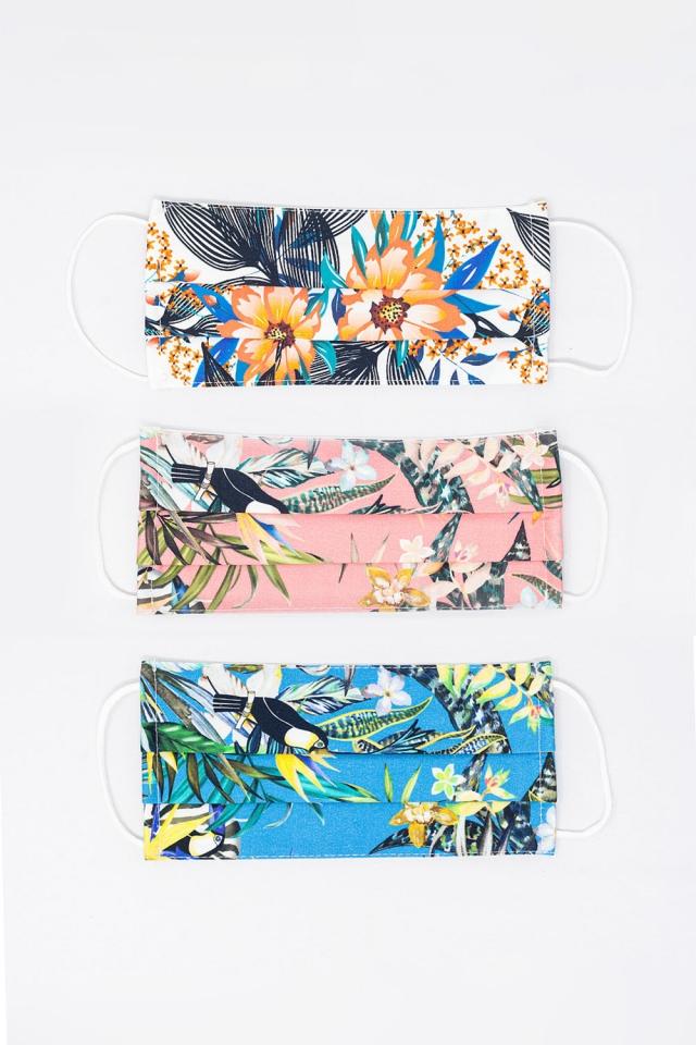3 PACK Masque à imprimé tropical de couleur mélangée