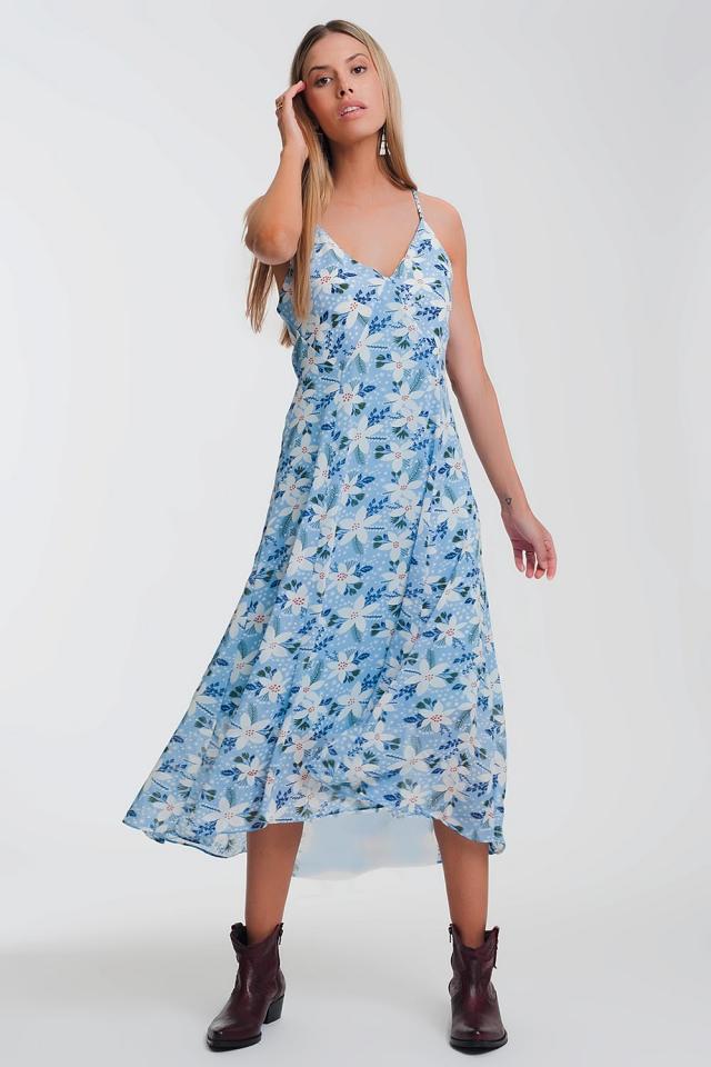 Robe longue caraco à bretelles et fleurs bleu