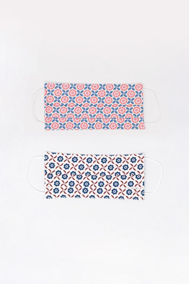 2 PACK masque blanc et rose imprimé géométrique