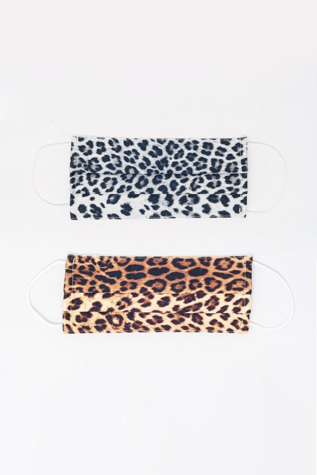 2 PACK Masque imprimé léopard mix