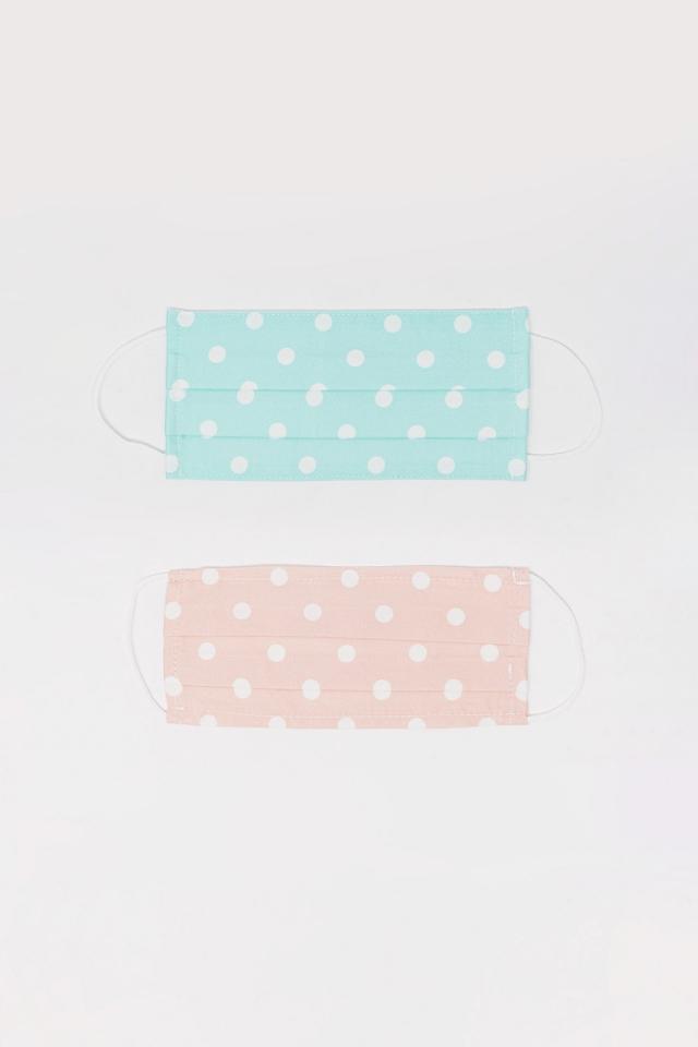 2 PACK Masque à pois bleu et rose