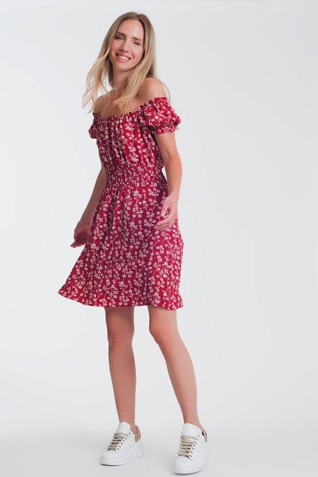 Robe d'été courte style bardot à fleurs rouge