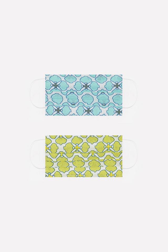 2 PACK Masque coton organique imprimé fleurs en vert et turquoise